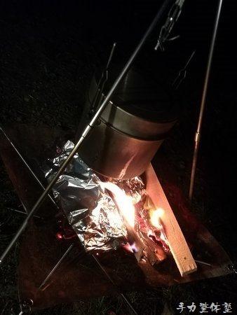 焚き火台で飯盒飯