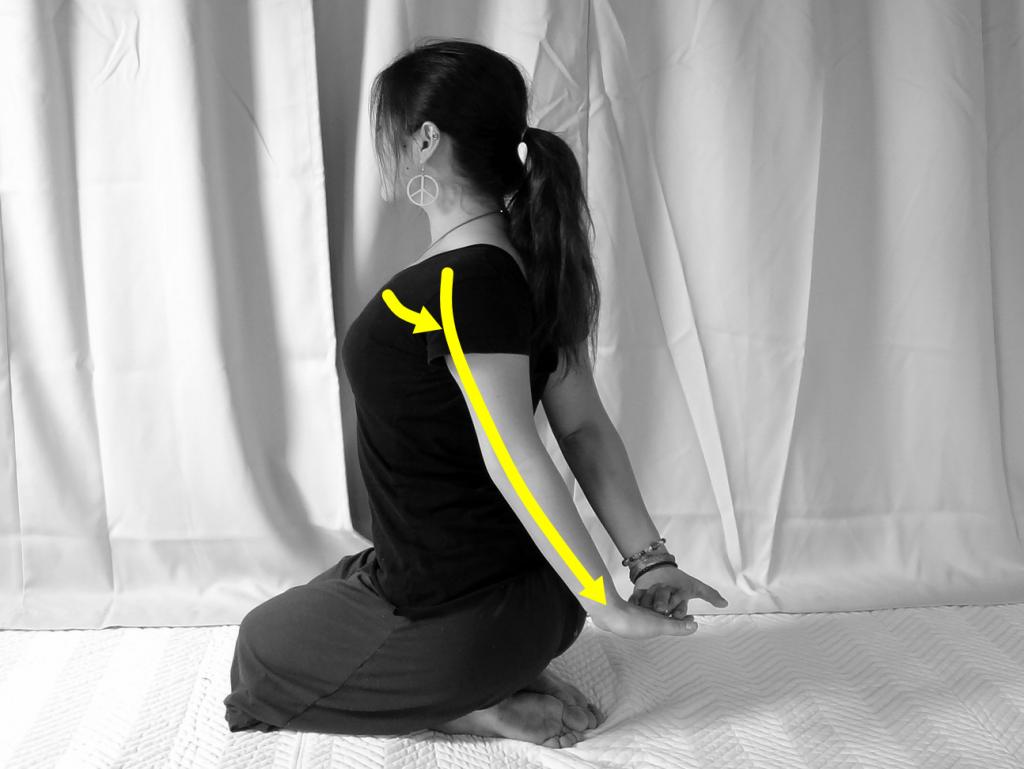 上腕二頭筋と肩内旋筋・前腕回内筋のストレッチ